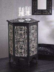 Zodax Modern Morocco Hexagonal Wood and Glass Table