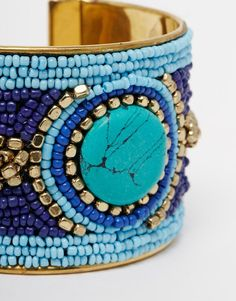 Image 4 of Raga Beaded Cuff With Blue Stone