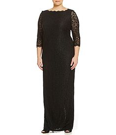 a252893e579 Adrianna Papell Plus 34Sleeve Lace Gown  Dillards Adrianna Papell