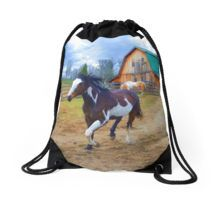 Trotting Pinto on a Horse Ranch Artwork on a Drawstring Bag