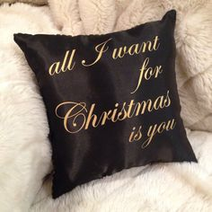 Make your Christmas glamorous. christmas pillow. black christmas. gold christmas. All i want for christmas is you. mariah carey. christmas carols. christmas songs. christmas movies