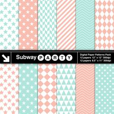 Mint and Coral Geometric Digital Papers Pack in Chevron Checks Stars & Stripes. Scrapbook / Invite DIY 8.5x11 12x12 jpg INSTANT DOWNLOAD subwayParty 3.45 USD