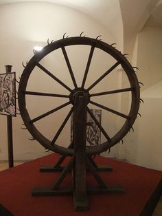 Torture Wheel - Reserved for hated criminals, the victims were tied to the spokes. The torturer would then rotate the wheel while hitting the victim with an iron rod.