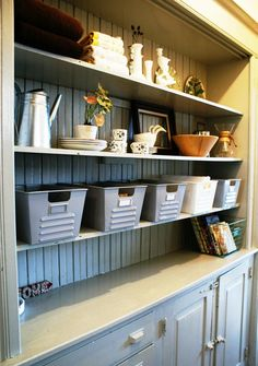 gram wants to paint that hutch in the living room. this is pretty cute. let's add beadboard to it