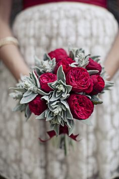 Ranunculus and Dusty Miller Bouquet i think this would work wonderfully also with sage mixed with antique-roses or peonies