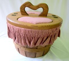 Wood Basket With Hearted Lid Bushel Lined Country Cottage Chic Rustic Vintage