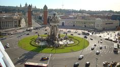#monogramsvacation - 360 view on top of Arenas, a mall that used to be a bullfighting ring.  Below are Placa d'Espanya and MNAC in the back.