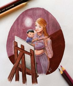 """marabarrow: """"okay I can say now that MY HEART IS FULL. I had this pictured in my head for too long. Just Feyre painting with her lil baby. A Court Of Wings And Ruin, A Court Of Mist And Fury, Fanart, Assassins Creed, Feyre And Rhysand, Sarah J Maas Books, Crescent City, Look At The Stars, Throne Of Glass"""