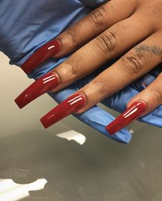 Nails on Black Women Red Acrylic Nails, Acrylic Nail Designs, Gorgeous Nails, Pretty Nails, Fire Nails, Nail Games, Birthday Nails, Nagel Gel, Simple Nails