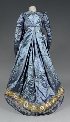 French Directoire period, ca1795 gown of blue-violet silk satin with scattered…