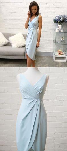 bridesmaid dresses, short bridesmaid dresses, light sky blue bridesmaid dress, wedding party dress