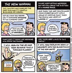Cartoon: The new normal Good Cartoons, Us Politics, The New Normal, Political Cartoons, Horse Racing, Comic Strips, Obama, Cheer, Humor