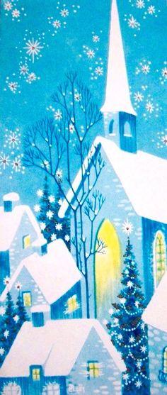 Vintage Christmas Card. Retro Christmas Card.