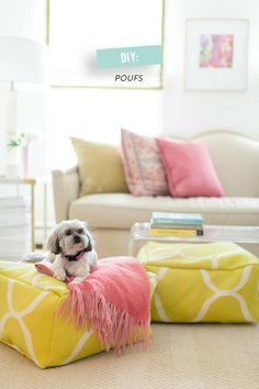 Poufs!! DIY Projects • Learn how to make Poufs! • Ideas and Tutorials! Including, from 'style me pretty', these beautiful diy poufs.