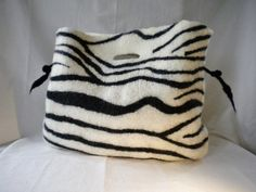 """WILD LIFE I"", UNIQUE PIECE, Merino, black&white. Seamless. Designed & hand wet felted by NEREIDA BONMATÍ for NAÏVE Slow Felt Fashion. Textile Art https://www.kichink.com/stores/naiveslowfeltfashion"