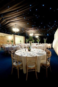 marquee linings in a barn
