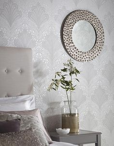 £45.97 Price per roll (per m2 £8.62), All wallpapers, Carrier material: Non-woven wallpaper, Surface: Tactile relief effect, Look: Matt pattern, Shimmering base surface, Design: Art nouveau damask, Basic colour: Matt silver, Pattern colour: Silver grey shimmer, White, Characteristics: Good lightfastness, Low flammability, Strippable, Paste the wall, Wash-resistant