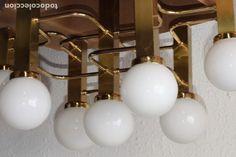 LAMPARA DE DISEÑO 7 TULIPAS REDONDAS DESIGN ESTILO GAETANO SCIOLARI SPACE AGE VINTAGE LAMPS Age, Light Bulb, Lighting, Lamps, Home Decor, Tulips, Brass Lamp, Antique Chandelier, Trading Cards