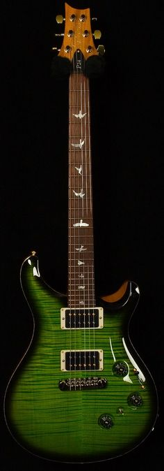 Paul Reed Smith P24. The fretboard birds on PRS guitars are: 1. Peregrine falcon, 2. Marsh hawk, 3. Ruby throated hummingbird, 4. Common tern, 5. Coopers hawk, 6. Kite, 7. Sparrow landing, 8. Storm petrel, 9. Hawk landing, 10. Screech owl on a branch (24-fret models only). #prsguitars