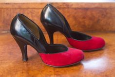 1940's Shoes // Red and Black Sexy Pin Up Girl by GarbOhVintage, $118.00