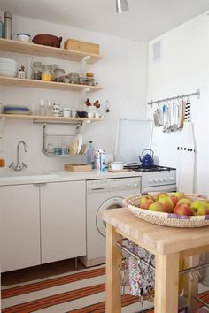 Many smaller homes have the clothes washer in the kitchen. Select a machine that coordinates with the color and quality of the other kitchen appliances.