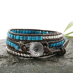 Silver Button Leather Wrap Bracelet with Turquoise by birdjewelry