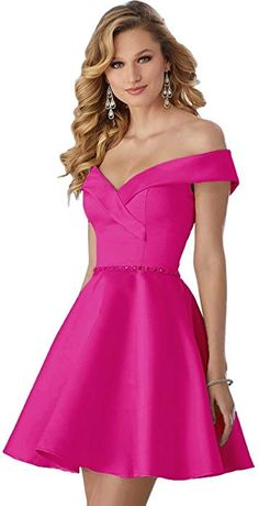 68c3e6110685e5 LOVING HOUSE Women s Off The Shouder A Line Homecoming Dress Short Beaded Prom  Party Gown P095 Hot Pink 6 at Amazon Women s Clothing store