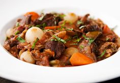 italian-style beef and porcini stew recipe | use real butter (read for her modifications - less beef, no pearl onions)