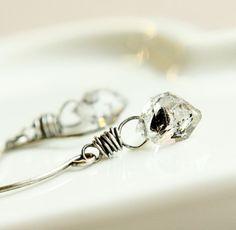 Herkimer  Earrings    Oxidized Silver  Diamond Quartz  by Hildes