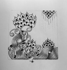https://flic.kr/p/zSoSr7   Square One: Purely Zentangle® Facebook page - Cyme   Playing with the Cyme tangle but not in a round!