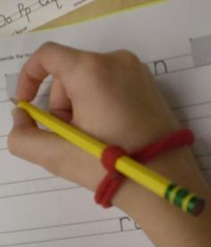 Handwriting help-This tool can be ordered or made to help students to hold pencils properly.