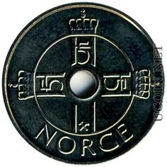 Norwegian Money: 5 krone NOK (or crown)  is worth about .87 cents American currency.