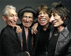 A Caricature Study of The Rolling Stones ~Rodney Pike Humorous Illustrator