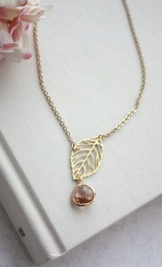 Champagne Peach Glass Small Gold Leaf Charm Lariat