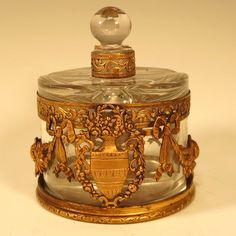 Antique French Pair Glass Perfume Scent Bottles in Ormolu Caddy from larieallenantiques on Ruby Lane