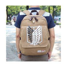 Attack on titan Shingeki no Kyojin Anime Cosplay Backpack Schoolbag... (64 CAD) ❤ liked on Polyvore featuring bags, handbags, shoulder bags, brown handbags, nylon backpack, brown backpack, back pack purse and brown purse