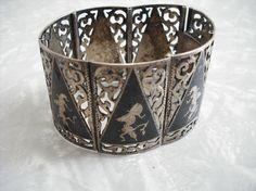 Vintage Bracelet Sterling Silver Siam Cuff
