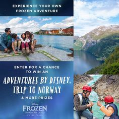 Experience adventures inspired by Frozen! ✨ ❄ Enter for a chance to win an unforgettable journey to Norway with Adventures by Disney, Burton Snowboards gear, LEGO sets, and more prizes: di.sn/600286Vxy • • •  NO PURCHASE NECESSARY. Sweeps ends 11:59pm (PT) on 11/17/16. Open only to 50 US/DC & CAN (excl. QC)/all ages. Minors must get parent's permission to enter. Limit 1 entry per person per day. For Odds/Rules/Full details click/tap Rules. Void where prohibited. Many will enter. Few will…