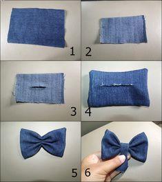 how to make a perfect bow tie fabric to put on a garment Diy Hair Bows, Making Hair Bows, Diy Bow, Diy Ribbon, Fabric Bows, Fabric Flowers, Denim Hair, Denim Crafts, Diy Scarf