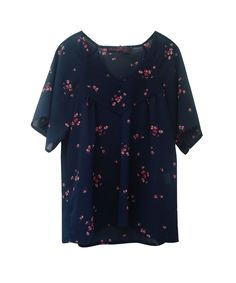 "Image of NEW ! Blouse ""Twigs"" black flowers"