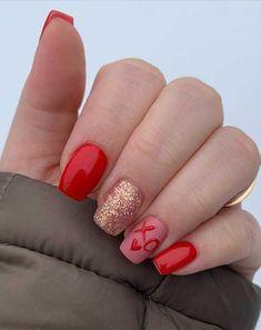 Valentine's Day Nail Designs, Cute Acrylic Nail Designs, Cute Acrylic Nails, Heart Nail Designs, Sophisticated Nails, Stylish Nails, Trendy Nails, Shellac Nails, Diy Nails