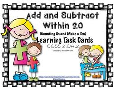 Adding and subtracting with fluency with a focus on the strategy of adding on and making ten. This set of 28 self-checking task cards focuses on CCSS 2.0A.2 (Fluency in Addition and Subtraction within 20- with add on and make a 10 strategy)The set includes -* 28 Self-checking task cards that are designed to practice CCSS 2.OA.2 (Fluency in addition and subtraction within 20- Add-on and Make a ten)* A task card recording answer sheet and key* A bonus game show template*
