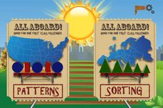 Caboose Express: Patterns and Sorting for Preschool and Kindergarten: TWO games in one App for your kindergartener and preschooler: pattern recognition; sorting objects by size and letters/numbers by position.