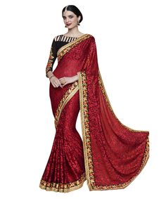 Buy Now Red Fancy Embroidery Brasso Party Wear Saree With Dhupian Blouse only at Lalgulal.com. Price :- 2,552/- inr. To Order :- http://goo.gl/JpM6v7. COD & Free Shipping Available only in India