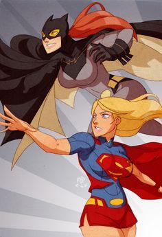 Supergirl and Batgirl by samuraiblack