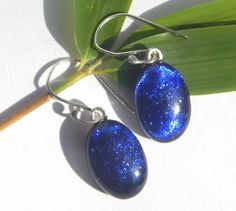 Dichroic Drop Earrings  Cobalt Blue Glass by TremoughGlass on Etsy