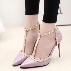 65dd8e3b8ba4 Pointed Toe T-strap 10 cm High Heel Sandals - Pink