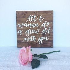 �All I wanna do is grow old with you� Farmhouse Inspired Sign #Farmhouse #Rustic #Cottage #Country #FixerUpper #Ad #HomeDecor #WallArt #Love #Family #Wedding #WeddingPlanning #Marriage