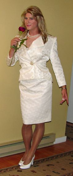 """thetransgenderbride: """"This bridal suit, perfect for a bride in an informal, daytime or courthouse wedding, is modeled by bridal crossdresser Tammie. """" Another pics at my archive. Bridal Gowns, Wedding Dresses, Brides And Bridesmaids, Dream Dress, Crossdressers, Looking For Women, Beautiful Bride, Cool Girl, Dress Up"""