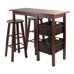 Winsome Trading Egan 5 Piece Counter Height Dining Table Set with Round Seat Stools - 94560